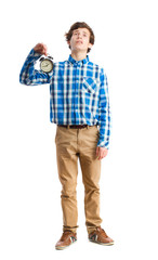 teenager holding a clock