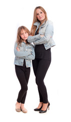 Mother and daughter posing