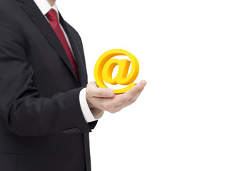 Businessman holding email symbol with clipping path