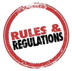 Rules and Regulations Red Ink Stamp Follow Laws Guidelines