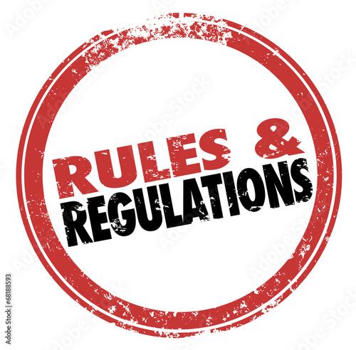 Постер, плакат: Rules and Regulations Red Ink Stamp Follow Laws Guidelines, холст на подрамнике