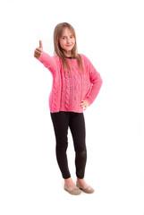 Young girl okay gesture