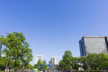 [東京都市風景]快晴青空と新緑の桜田門の前の幹線道路(内堀通り)