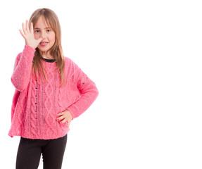 Young girl mischief gesture