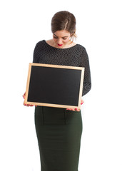 Girl with a blackboard