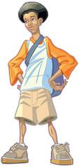 Cartoon African American Teen Boy With Backpack