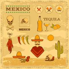 vector mexican icons, mexico stamp illustration