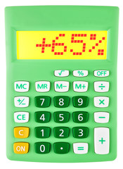 Calculator with +65% on display on white background