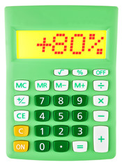 Calculator with +80% on display on white background