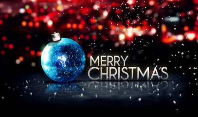 Blue Silver Merry Christmas Bokeh Beautiful 3D Red Background