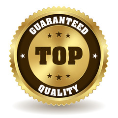 Gold top quality badge on white background