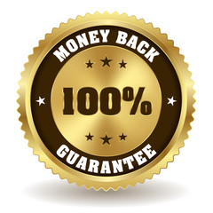 100 percent money back badge on white background