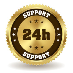 Gold 24h support badge on white background