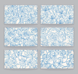 cards with blue floral patterns