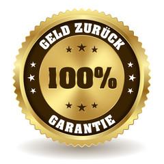Geld zurück Garantie Siegel in gold