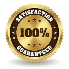 Gold 100 percent satisfaction badge on white background