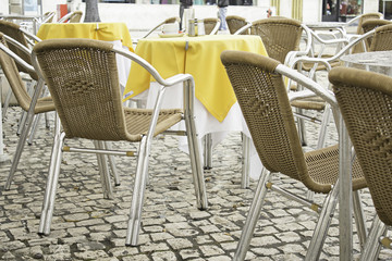 Chairs in bar tablecloth
