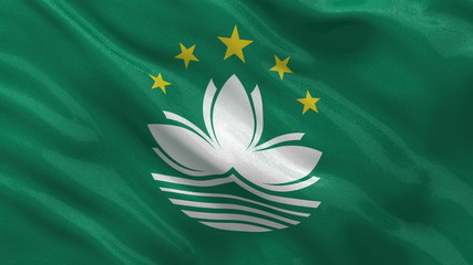 Flag of Macau waving in the wind - seamless loop