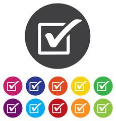 Check mark sign icon. Checkbox button