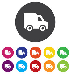 Delivery truck sign icon. Cargo van symbol