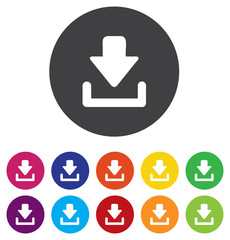 Download icon. Upload button. Load symbol. Round colourful 11 bu