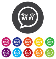 Free wi-fi icon. Wifi speech bubble. Wireless Network symbol. Wi