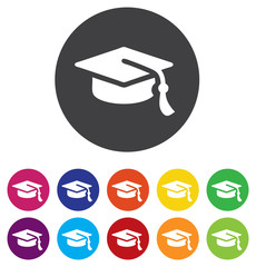 Graduation cap sign icon. Higher education symbol