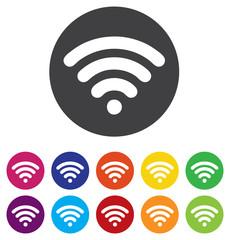 Wifi sign. Wi-fi symbol. Wireless Network icon. Wifi zone. Round
