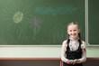 girl drawing on blackboard