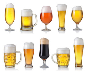 Collection of different beer isolated on white