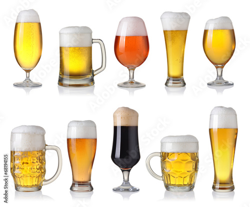 Foto op Canvas Bier / Cider Collection of different beer isolated on white