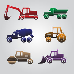 color heavy machinery cars icons eps10