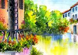 Fototapety watercolor painting - flowers near the house