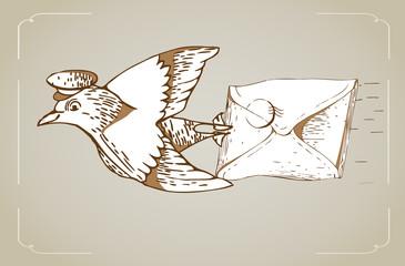 cute vintage letter bird