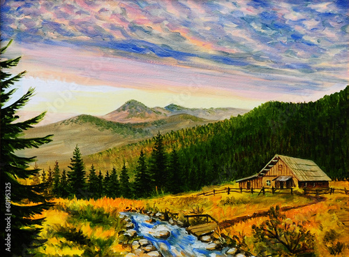 Panel Szklany oil painting landscape - sunset in the mountains, village house