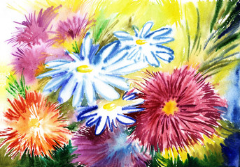 watercolor flowers, abstracts art