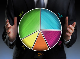 Businessman holding a colorful pie chart