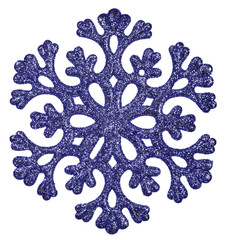 blue snowflake shape decoration isolted on white