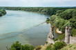 Maiden tower of Devin castle and confluence of the Danube with M
