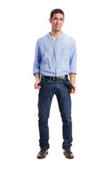 young man poverty gesture