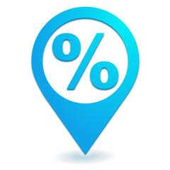 pourcentage sur symbole localisation bleu