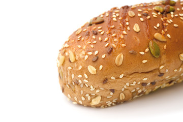 bread with sesame and melon seed on a white background
