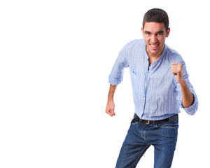 young man run gesture