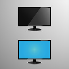 Realistic illustration of an LCD monitor with editable screen