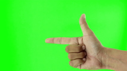 Man hand count up from one to five on green screen, Close up