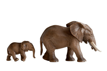 mother and baby elephant toys isolated white background