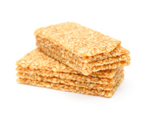 sweet rice puffs blocks on a white background