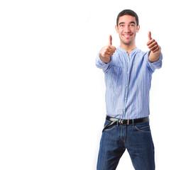 young pleased man okay gesture
