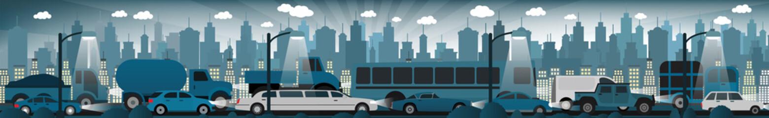 Traffic jam in the night city