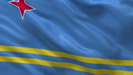 Flag of Aruba waving in the wind - seamless loop